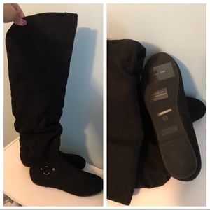 Bamboo Suede Knee High Boots